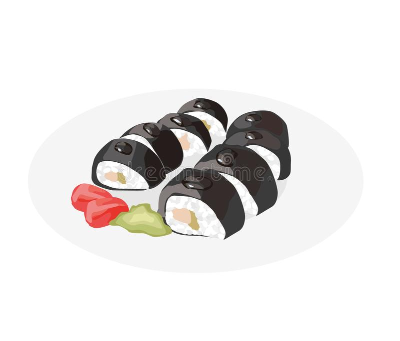 De Broodjes van sushi Heerlijk de keukenrestaurant van Azië Japans voedsel Sushibroodje met wasabi en gember vector illustratie