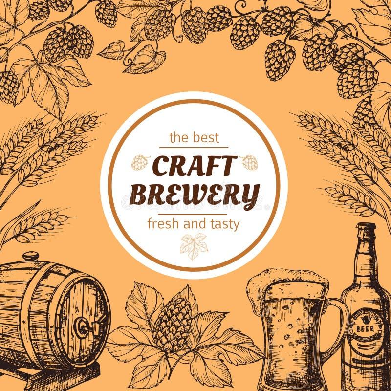 De brouwerij uitstekende vectoraffiche van de krabbelschets met bier en hop royalty-vrije illustratie