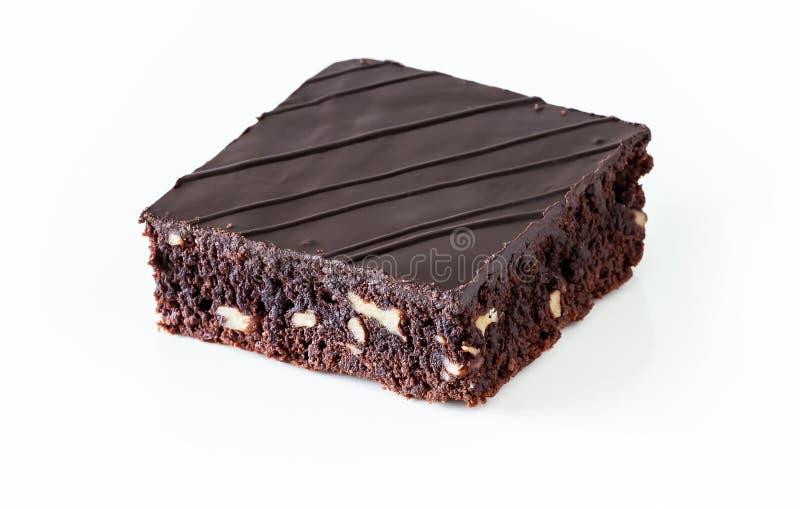De browniecake van de chocoladeveganist met notenroze Selectieve nadruk royalty-vrije stock foto's