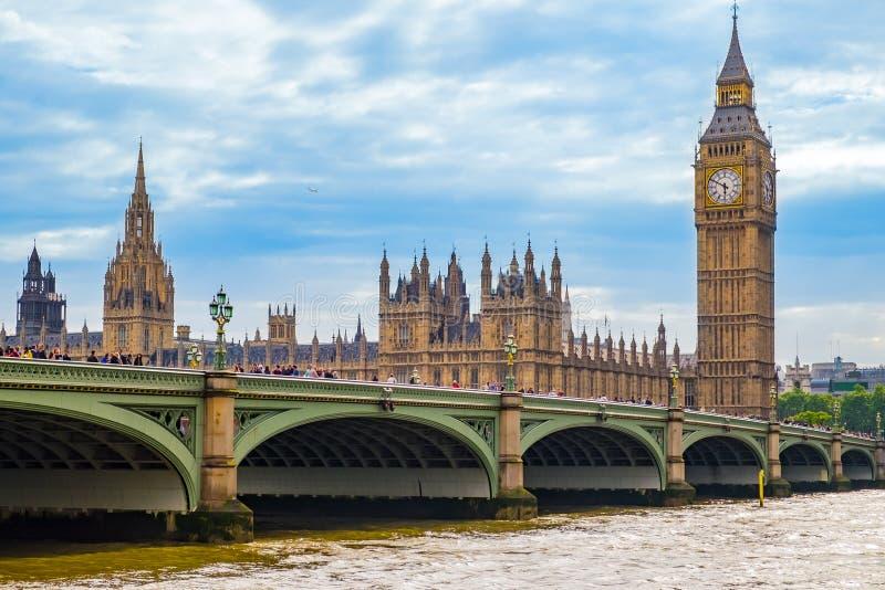 De Brug en Big Ben van Westminster royalty-vrije stock foto