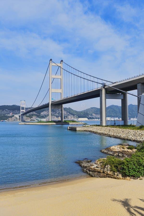 De brug en het strand van Hongkong stock foto's