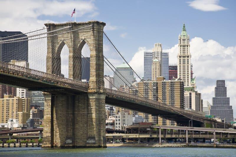 De brug en Manhattan van Brooklyn stock afbeelding