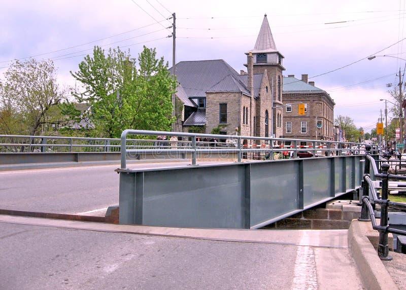De brug en slot Mei 2008 van Merrickville van het Rideaukanaal royalty-vrije stock foto