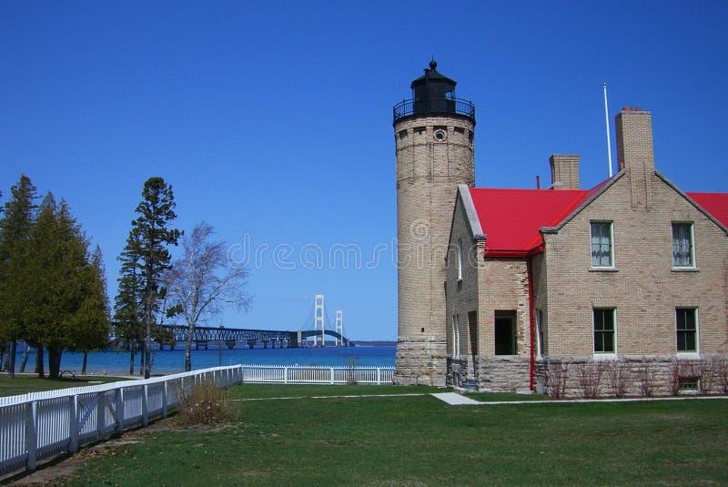 De Brug en de Vuurtoren van het Mackinacpunt in Michigan stock afbeeldingen