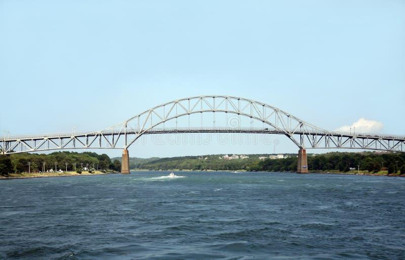 De brug overspant een waterweg stock foto's
