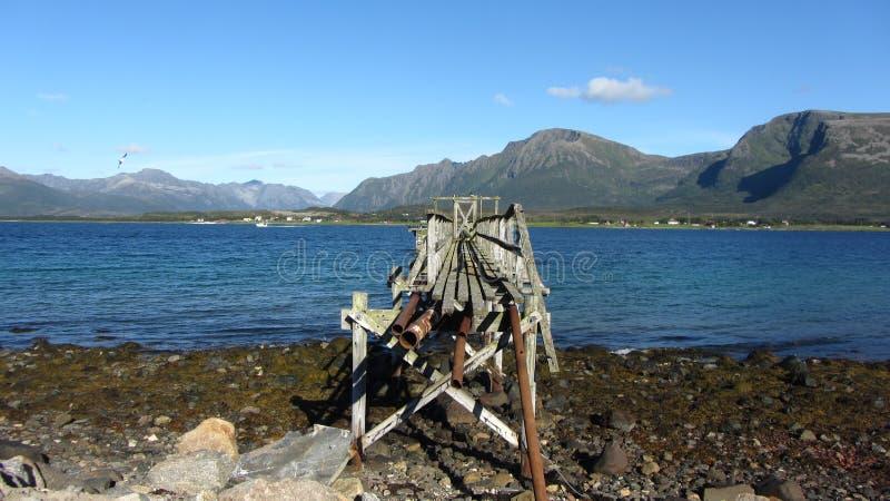 De Brug Sortland, Noorwegen stock foto's