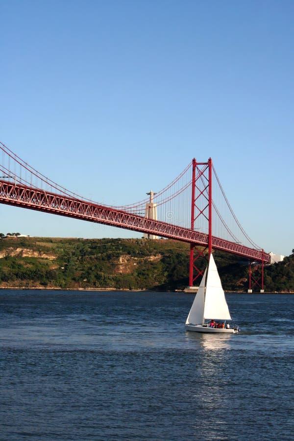 de brug van 25ste April stock fotografie
