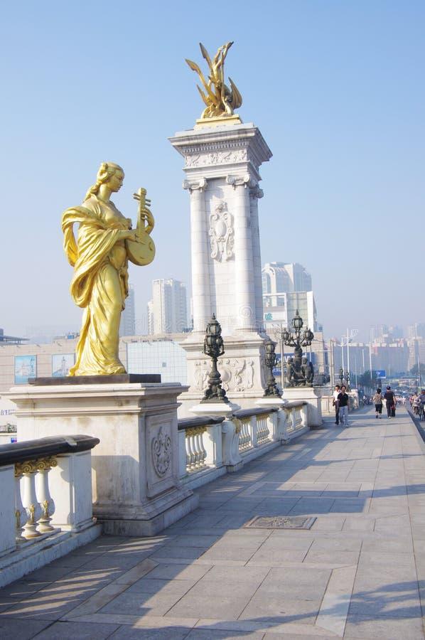 De brug van BeiAn in Tianjin China stock fotografie