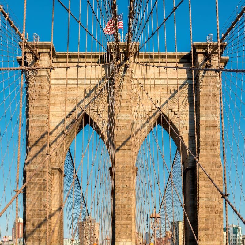 De Brug van Brooklyn bij Zonsondergang in de Stad van New York royalty-vrije stock foto