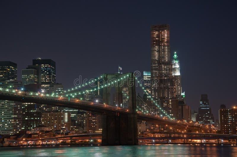 De Brug van Brooklyn en de Horizon van Manhattan royalty-vrije stock afbeelding