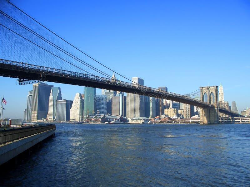 De brug van Brooklyn en lager Manhattan, New York stock afbeeldingen