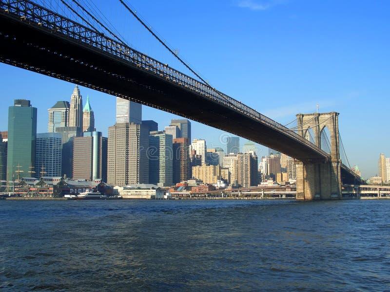 De brug van Brooklyn en lager Manhattan, New York stock foto's