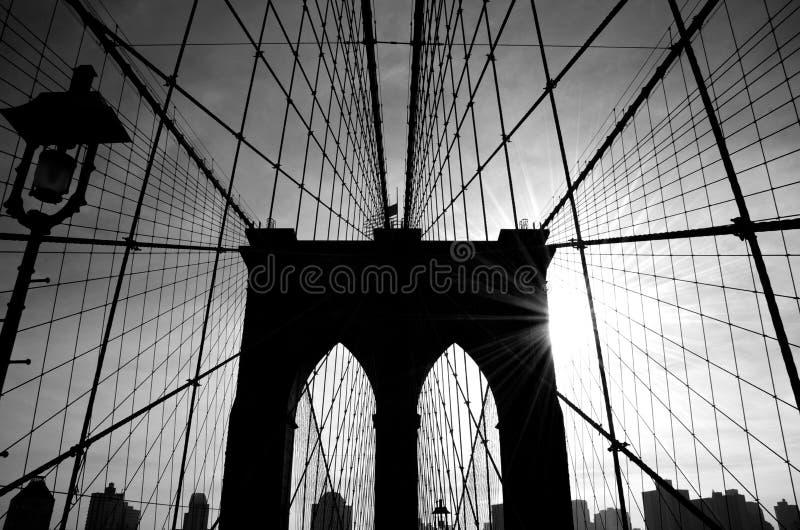 De Brug van Brooklyn, het Silhouet van New York royalty-vrije stock afbeelding
