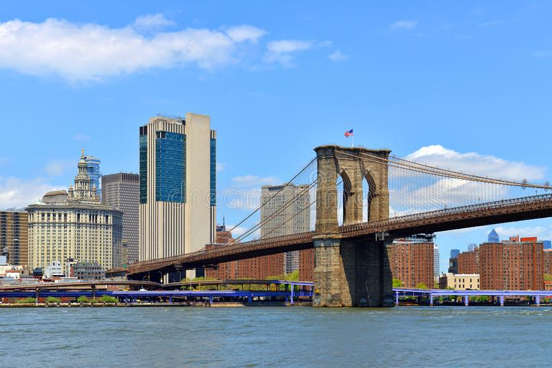 De Brug van Brooklyn, hybride kabel-gebleven, hangbrug De Stad NYC, meest dichtbevolkte stad van New York in Verenigde Staten stock afbeeldingen