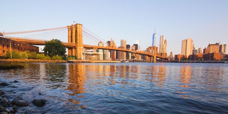 De brug van Brooklyn, Manhattan, New York stock afbeeldingen