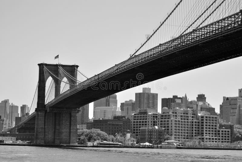 De Brug van Brooklyn met de Achtergrond van Brooklyn stock foto's