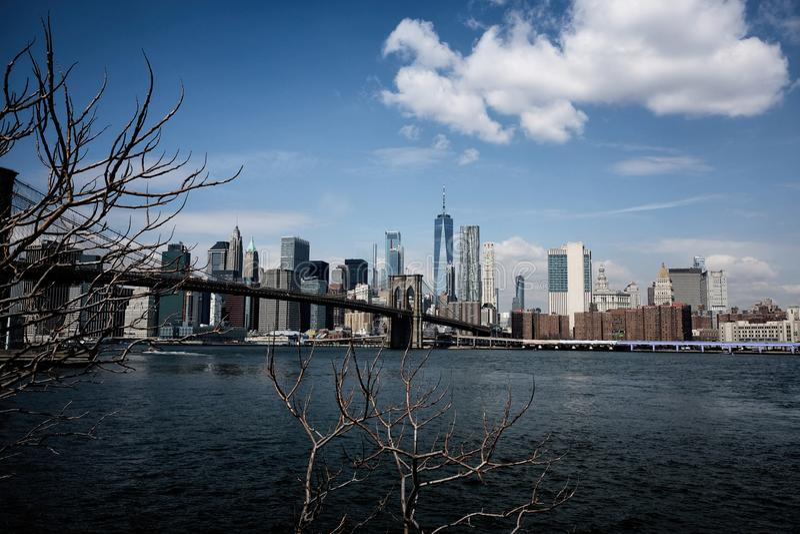 De brug van Brooklyn met de Stadshorizon van New York royalty-vrije stock afbeelding