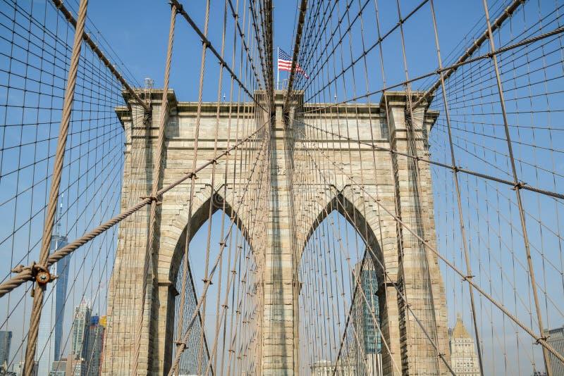 De brug van Brooklyn met typische de Stadshorizon van New York stock afbeeldingen