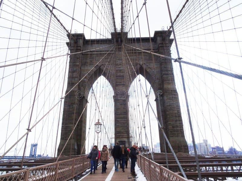 De brug van Brooklyn, New York stock foto