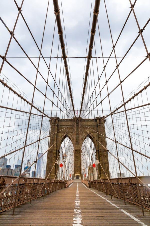 De Brug van Brooklyn, niemand, de Stad de V.S. van New York stock afbeelding