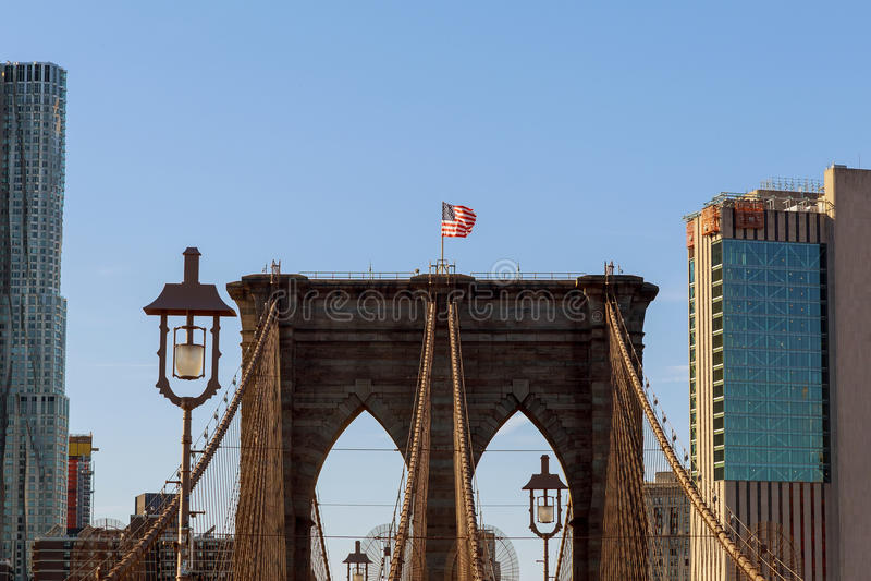 De Brug van Brooklyn, niemand, de Stad de V.S. van New York royalty-vrije stock afbeeldingen