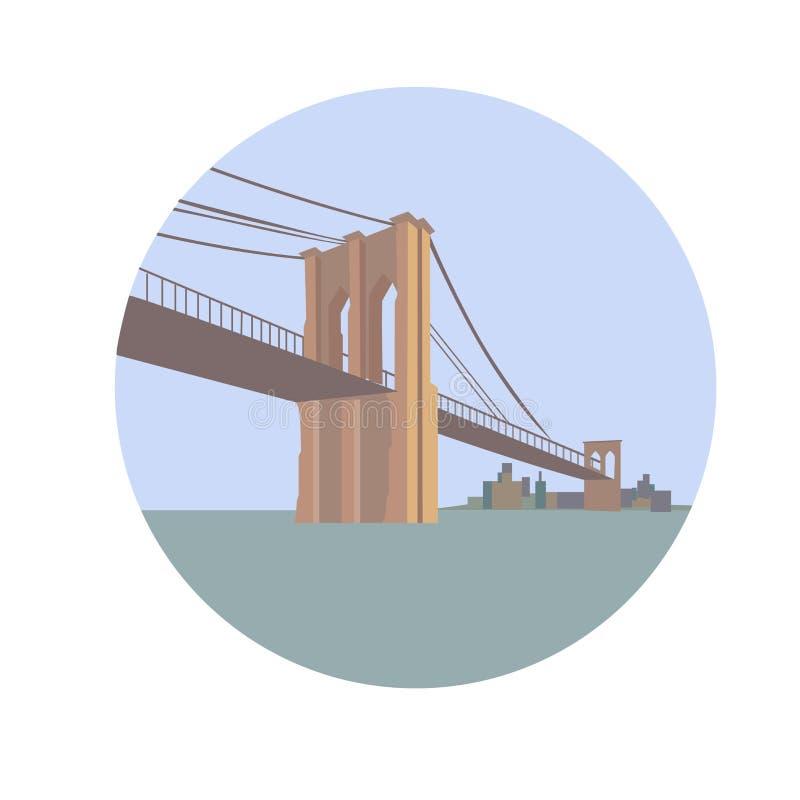 De Brug van Brooklyn over de Rivier van het Oosten Lower Manhattan royalty-vrije illustratie