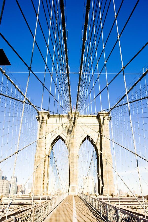De Brug van Brooklyn, de Stad van Manhattan, New York, de V.S. stock afbeelding