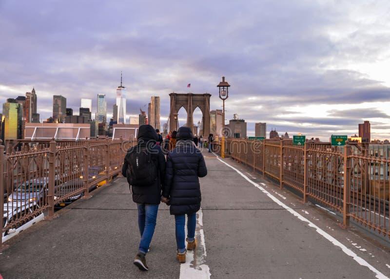 De Brug van Brooklyn - de Stad van New York royalty-vrije stock afbeelding