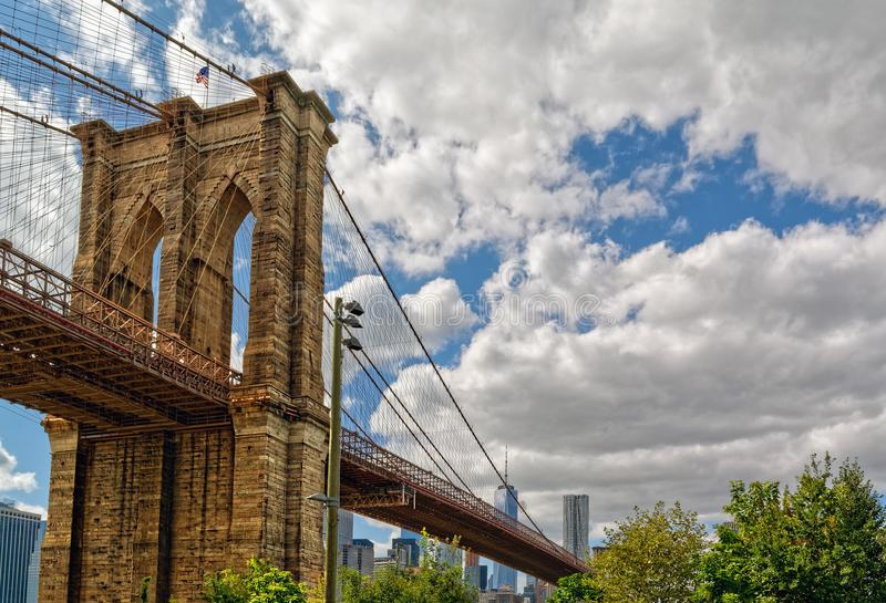 De Brug van Brooklyn, de Stad van New York, de V royalty-vrije stock afbeelding