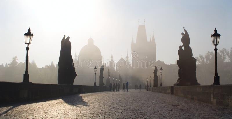 De brug van Charles - Praag - ochtend royalty-vrije stock foto
