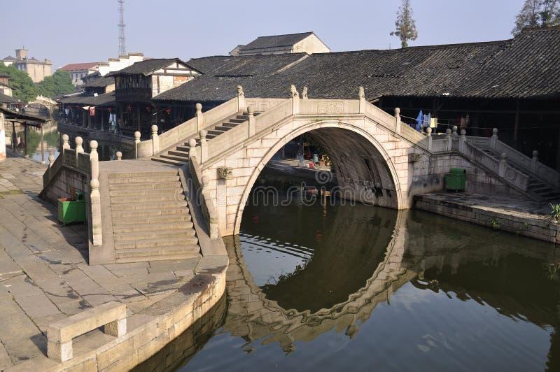 De Brug van China, de landschappen van het Dorp Shaoxing stock afbeelding