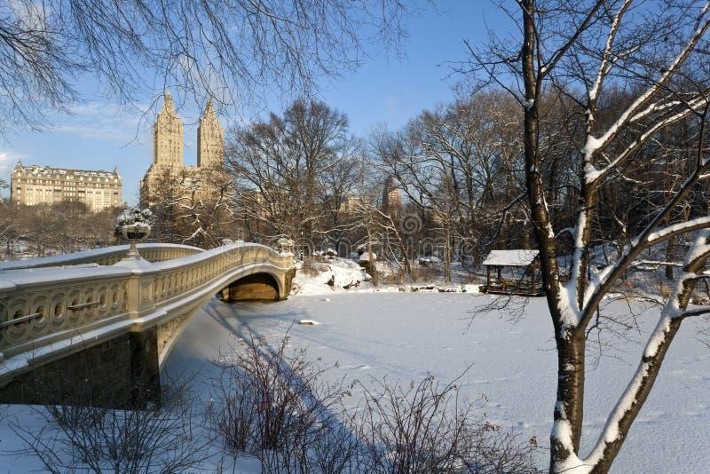 De brug van de boog na sneeuwonweer stock afbeeldingen