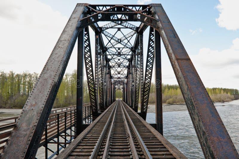 De brug van de de schraagspoorweg van het staal royalty-vrije stock afbeelding
