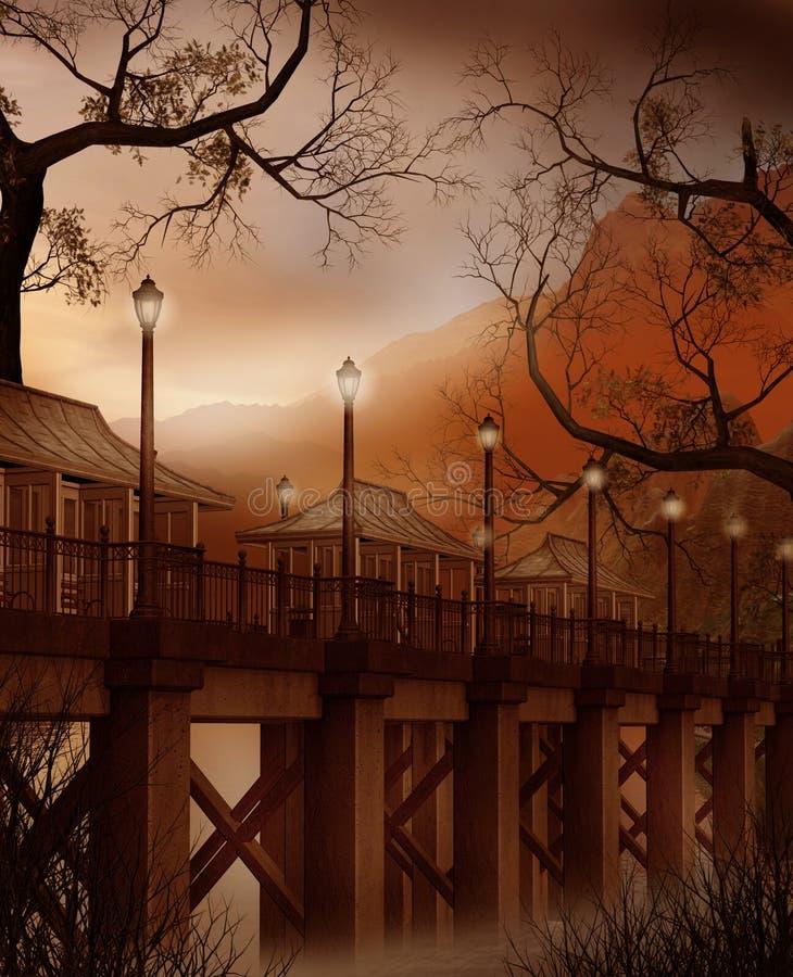 De brug van de fantasie met lampen vector illustratie