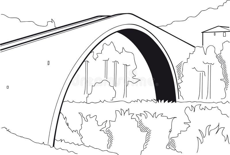 De brug van de gebochelde royalty-vrije illustratie