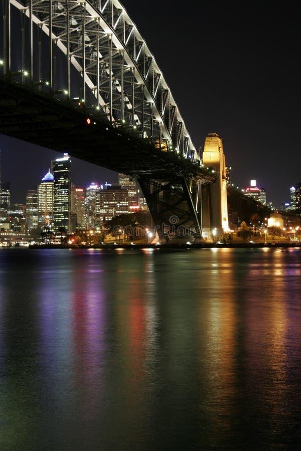 De Brug van de Haven van Sydney bij Nacht royalty-vrije stock afbeelding