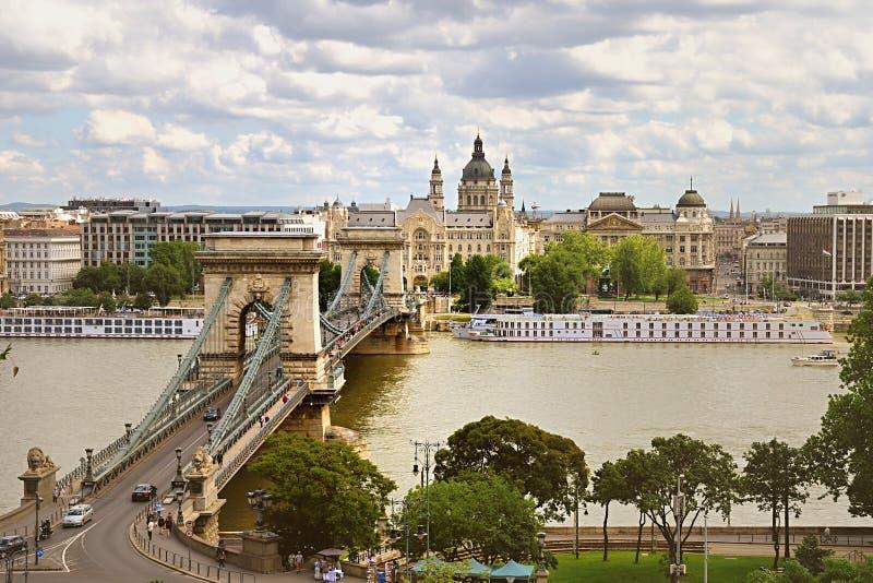 De Brug van de ketting, Boedapest stock afbeeldingen