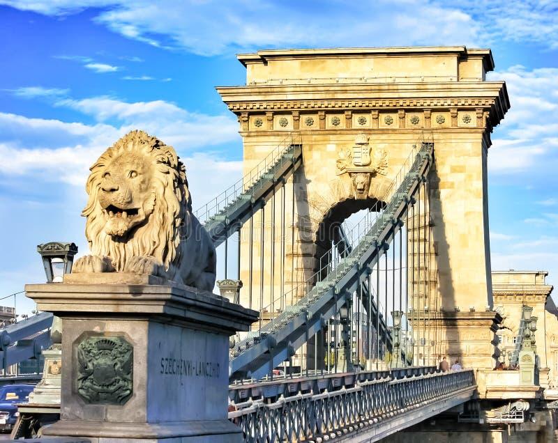 De Brug van de ketting in Boedapest, Hongarije stock foto's