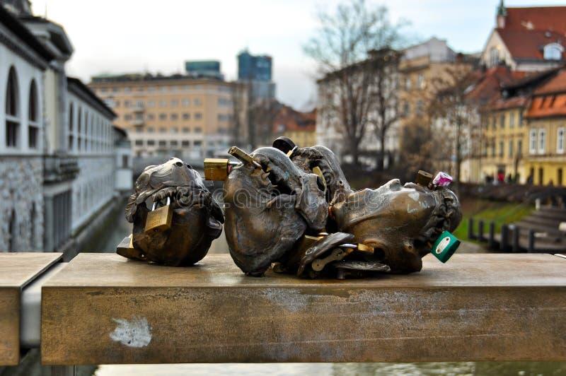 De Brug van de slager in Ljubljana, Slovenië royalty-vrije stock foto