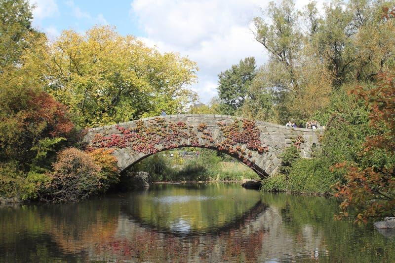 De brug van Gapstow in Central Park stock afbeelding