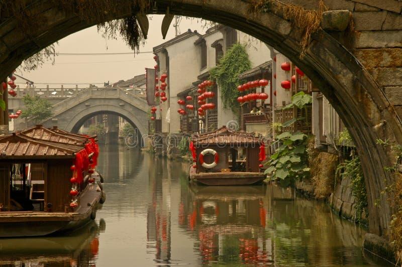De Brug van het kanaal in Suzhou stock foto's