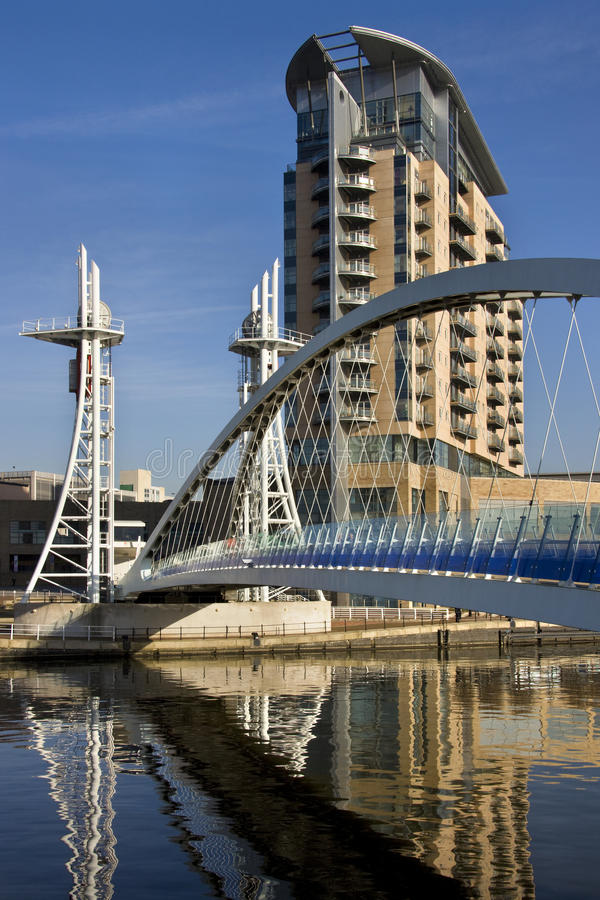 De Brug van het millennium - Manchester in Engeland stock afbeelding