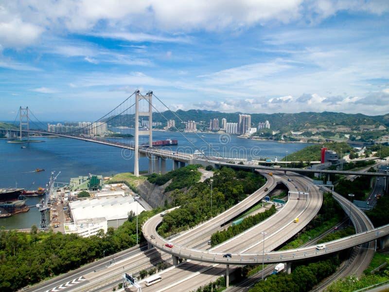 De Brug van Hongkong Tsing Ma stock foto
