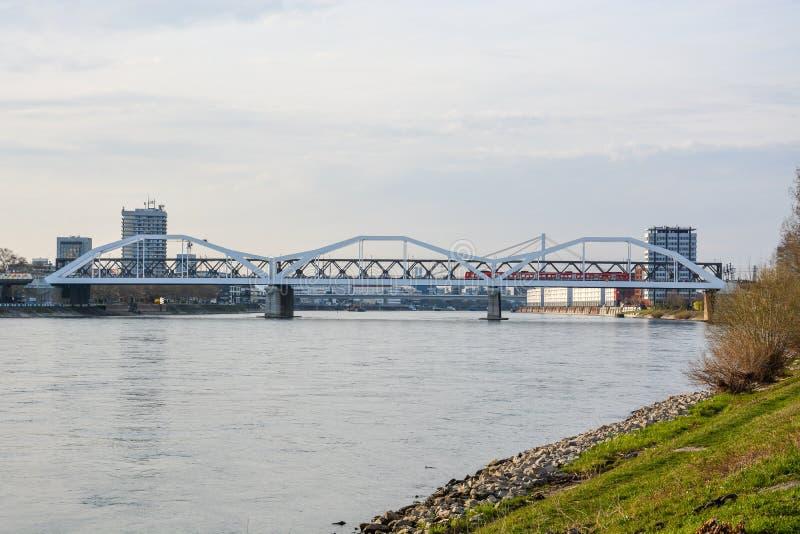 De brug van Mannheim tot Ludwigshafen over wi van rivierrijn stock fotografie