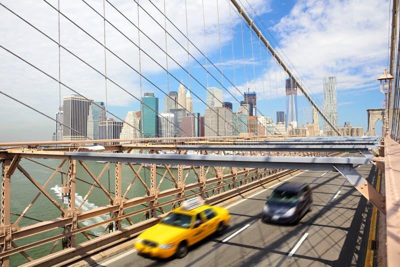 De Brug van New York, Brooklyn en taxicabine royalty-vrije stock foto's