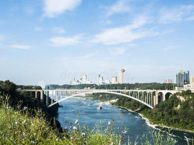 De brug van Niagaradalingen in een de zomerdag - New York royalty-vrije stock afbeelding