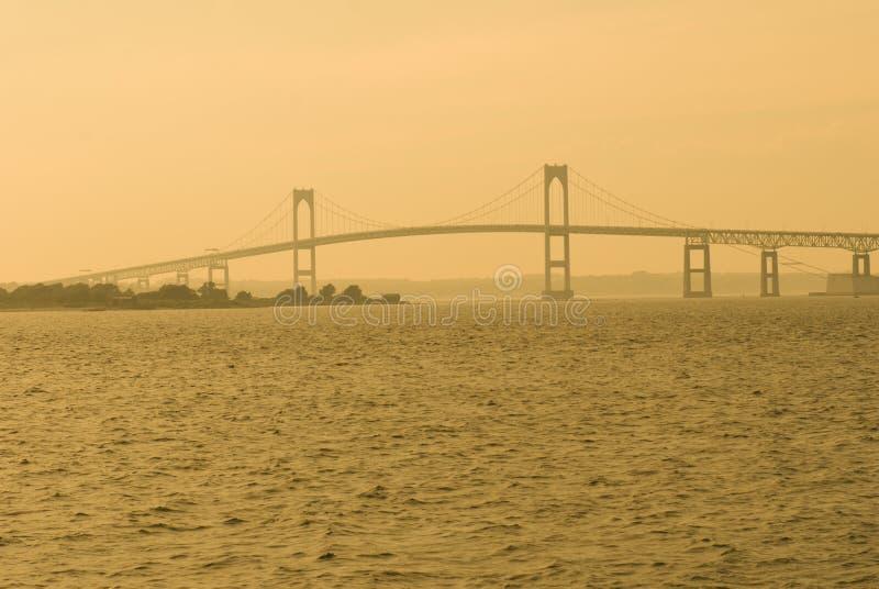 De Brug van Nieuwpoort bij Zonsondergang stock foto
