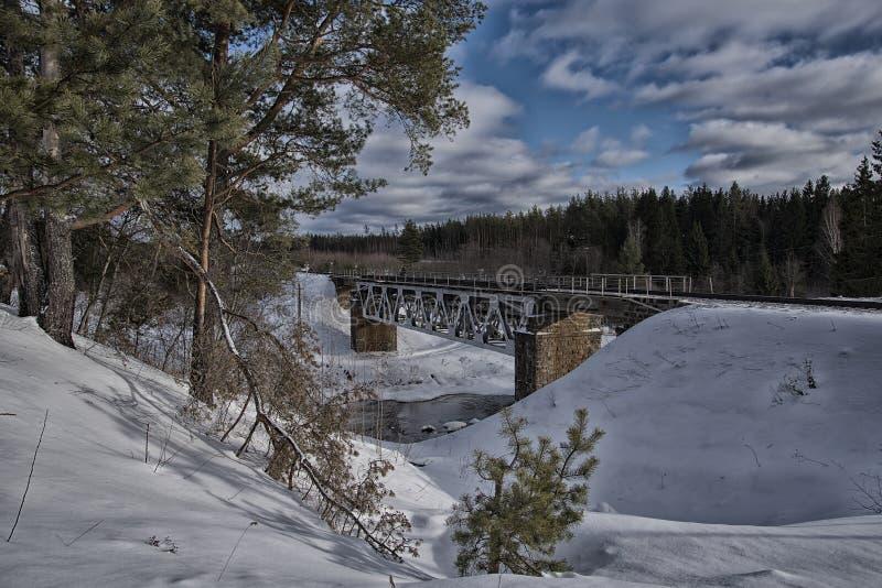 De Brug van de spoorweg over de rivier stock afbeeldingen