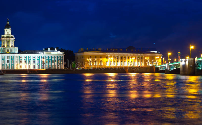 De brug van Vasilyevsky Island en van het Paleis in nacht stock fotografie