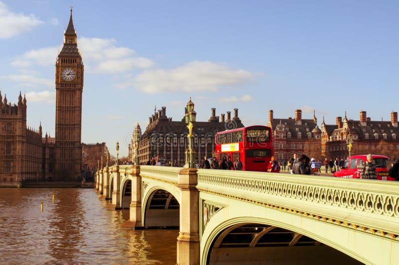 De Brug van Westminster en Big Ben in Londen, het Verenigd Koninkrijk stock foto